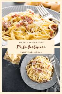 Plate of pasta carbonara-spaghetti in a creamy, egg and parmesan sauce with pancetta. An easy pasta recipe.