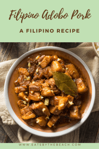 Filipino Adobo Pork-chunks of pork simmered in a soy sauce, vinegar, garlic, and sugar sauce