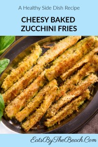 A plate of zucchini sticks that are breaded in breadcrumbs, Parmesan cheese, and spices and baked until crisp and golden brown. This dish is a healthy side dish.
