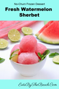 A refreshing dish of watermelon sherbet - a no churn sherbet recipe using fresh watermelon, sweetened condensed milk, lime juice and zest. So easy and refreshing.