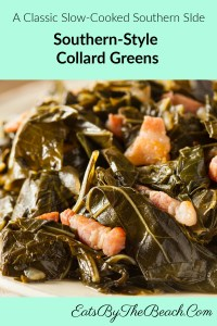 Bowl of Southern Style Slow cooked side dish of collard greens braised with onion, garlic, spices, and a ham hock to a tender, silky green and the most flavorful pot liquor.