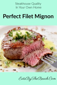 A perfect filet mignon, dripping with homemade garlic compound butter and garnished with fresh, minced parsley makes for a steakhouse quality dinner at home.