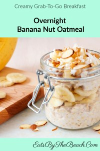 Jar of overnight banana nut oatmeal with sliced bananas, almonds, and walnuts. It is a no-cook grab-and-go breakfast.