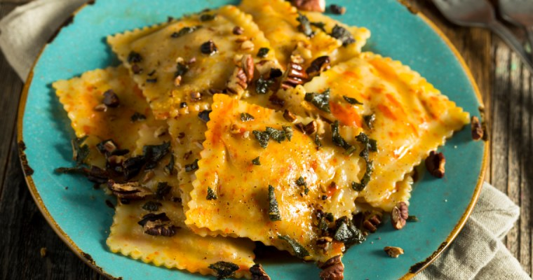 PUMPKIN RAVIOLI IN SAGE BROWN BUTTER SAUCE