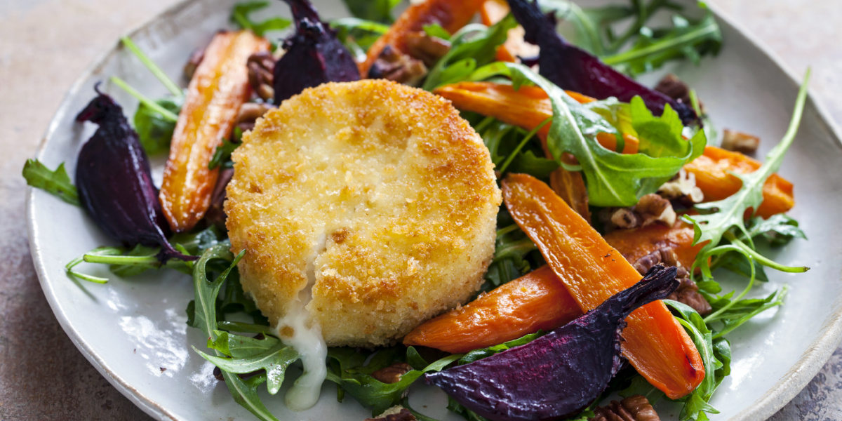 FRIED GOAT CHEESE AND ROASTED ROOT VEGETABLE SALAD