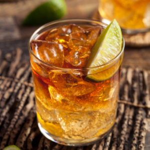 A masculine cocktail. This Dark And Stormy Cocktail is made with rum and ginger beer.