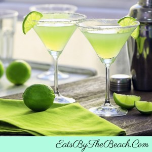 Glasses of Fresh Citrus Margaritas with tequila, fresh lime, fresh lemon, Grand Marnier, and agave syrup.