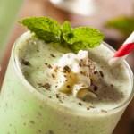 Tall glass of a boozy Irish mint shake - an adult version of a Shamrock shake