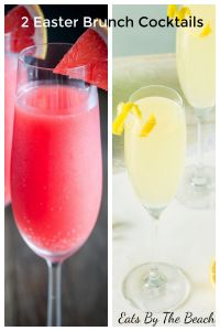 2 Easter Brunch Cocktails: one a grapefruit mimosa in a champagne flute and the other is a Royal French 75 - a sparkling, lemony gin cocktail.
