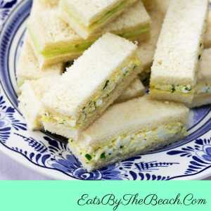 A plate of Easy Egg Salad Finger Sandwiches