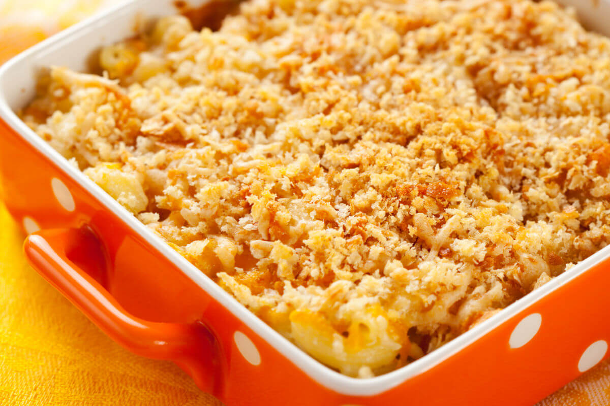 Baking dish of Classic Macaroni And Cheese with a buttery crumb topping
