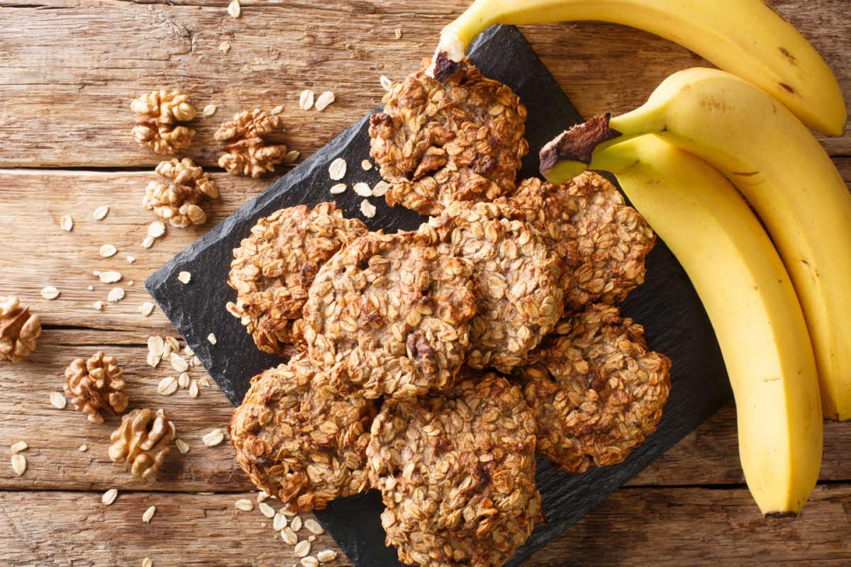Black platter of homemade, healthy banana walnut breakfast cookies