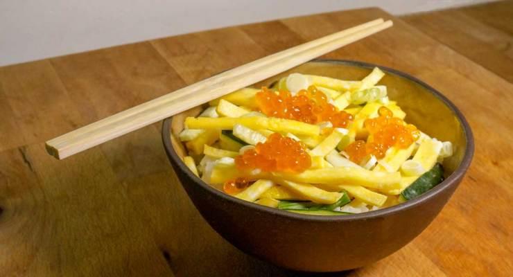 Egg and Salmon Egg Rice Bowl Recipe Finished