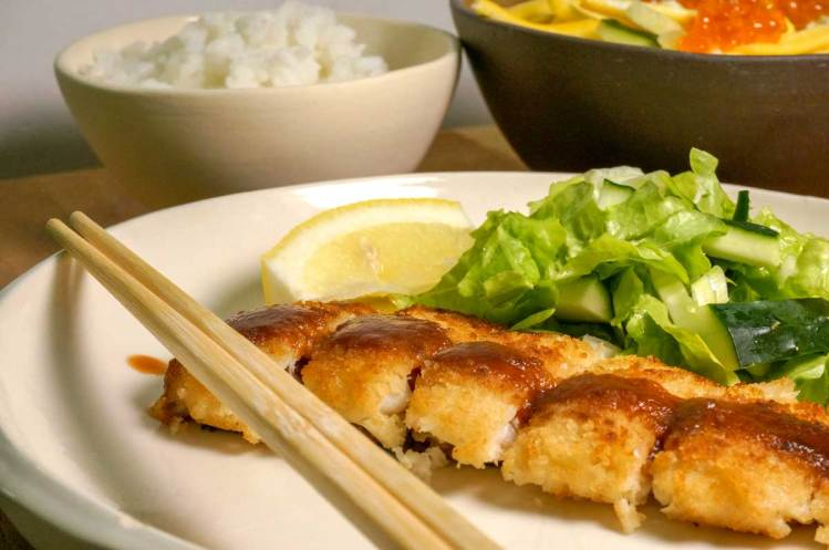 Fish Tonkatsu Dinner Recipe plated