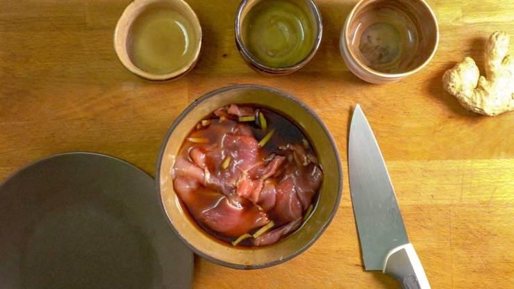 Ginger Salted Pork Marinade with pork