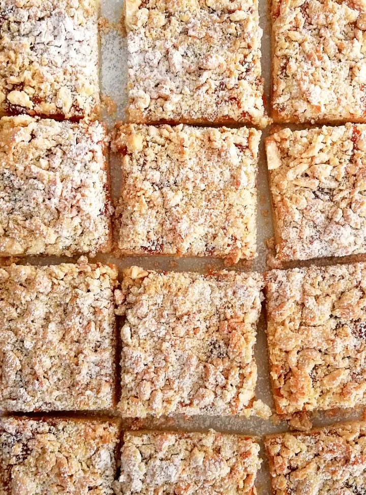 apricot jam bars dusted with powdered sugar overhead