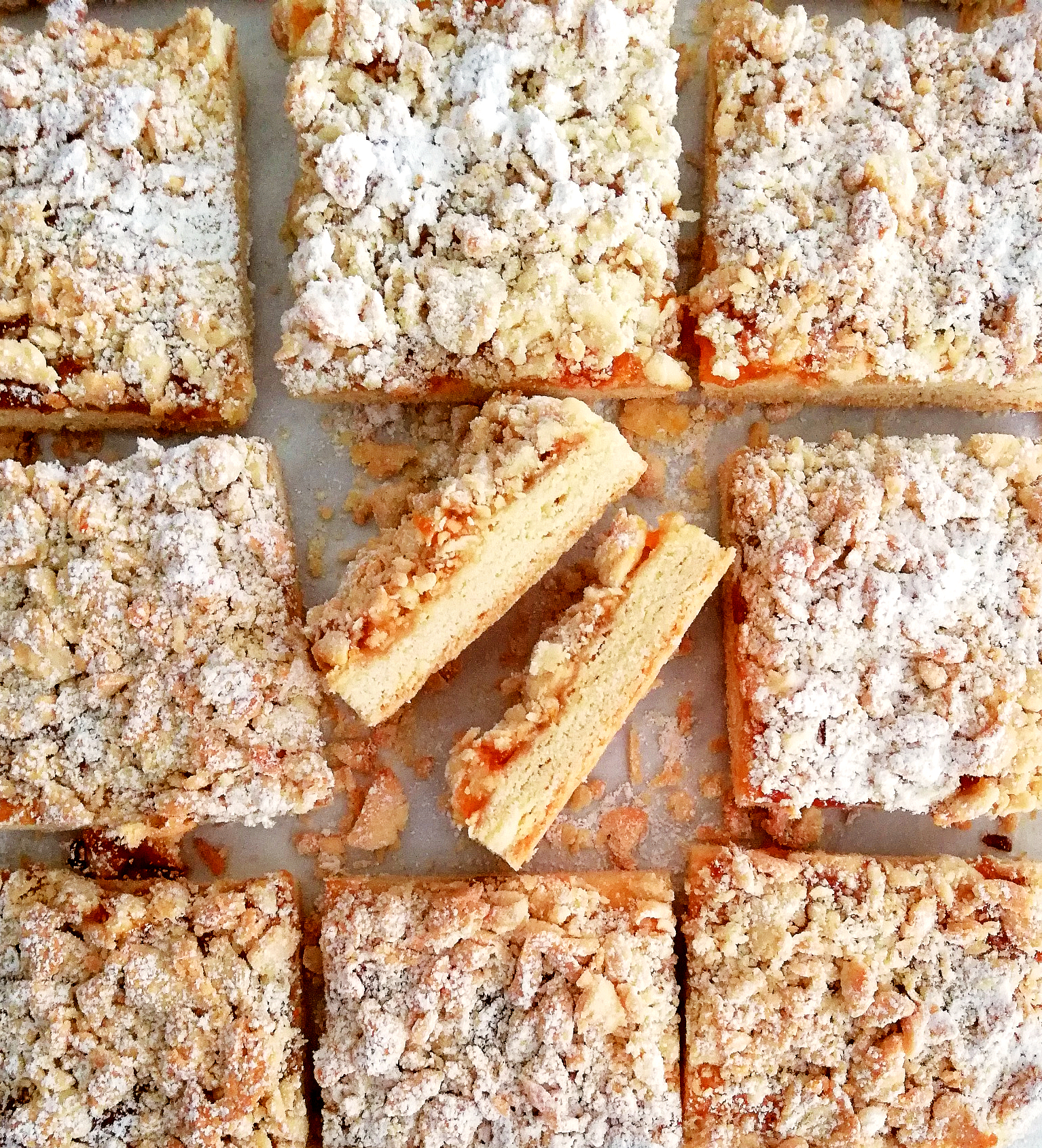 apricot jam bars slices turned over close up