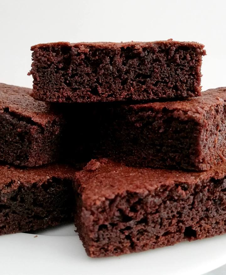brownies stacked in plate close up