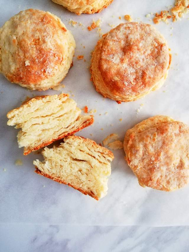 rolled buttermilk biscuits cut open