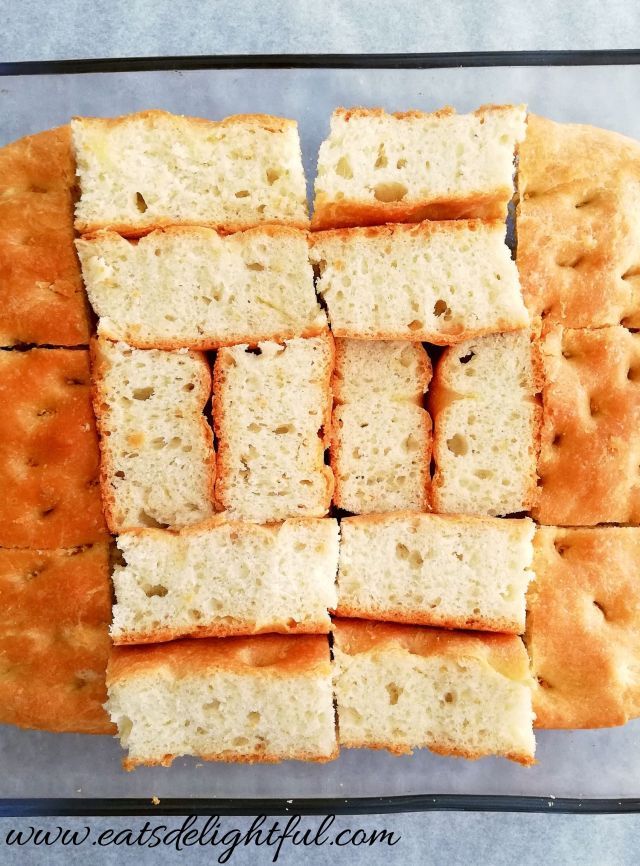 focaccia bread inside close up