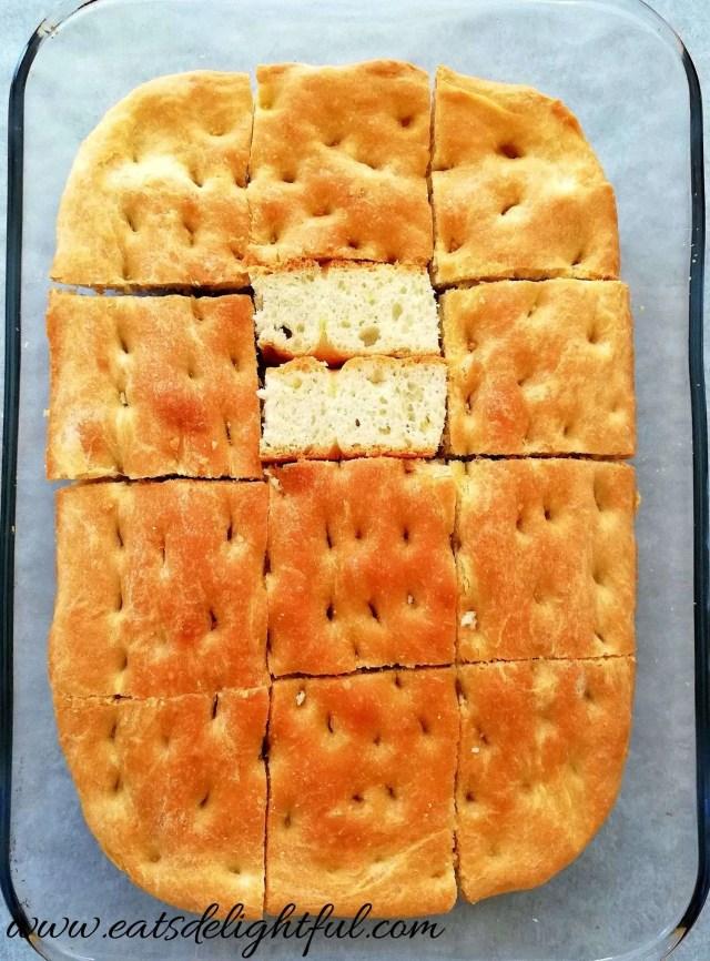 focaccia bread inside view