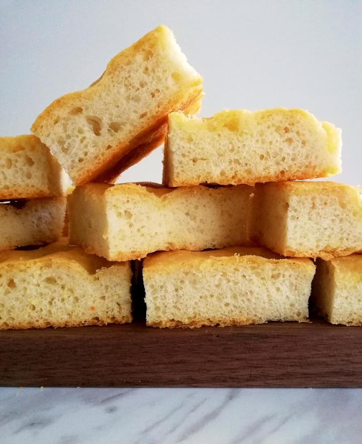 focaccia bread stacked head on view