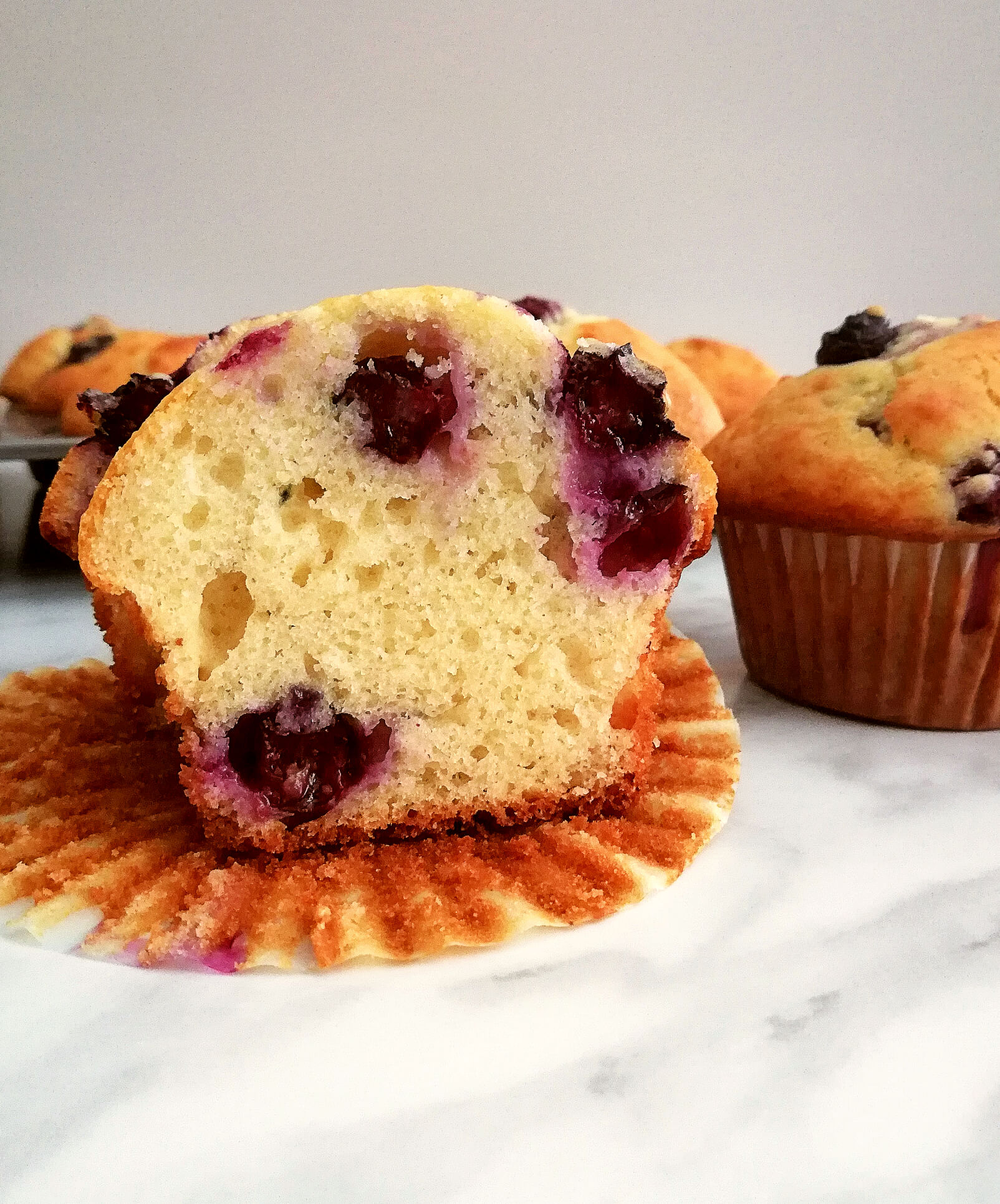 blueberry muffins inside view