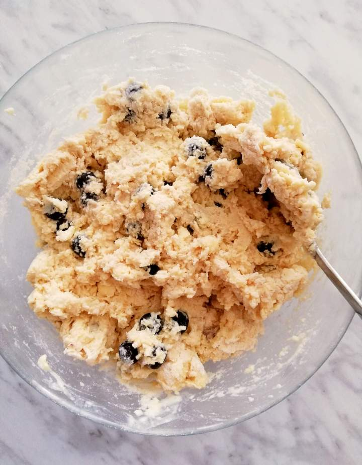 blueberry scone dough mixed in bowl