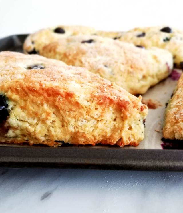 blueberry scones close up side view