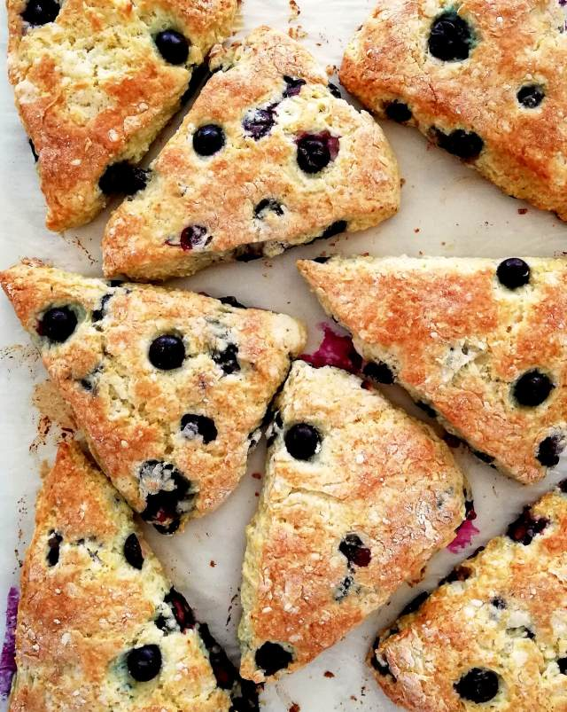 blueberry scones scattered overhead