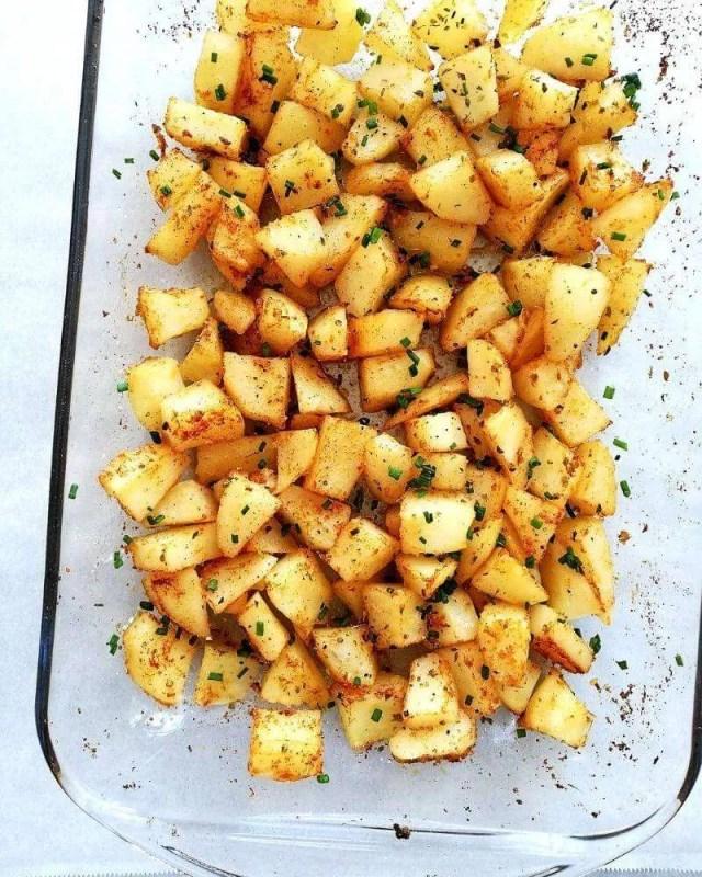 breakfast potatoes in baking dish