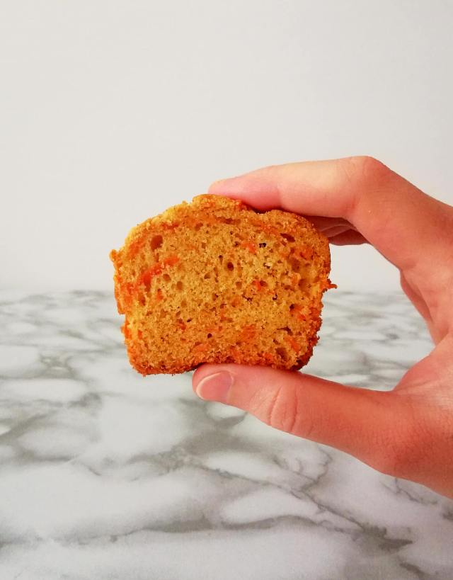 carrot muffins inside texture in hand