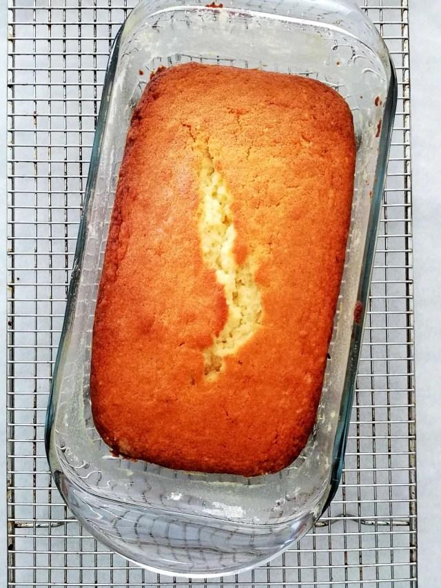 pound cake baked in baking dish