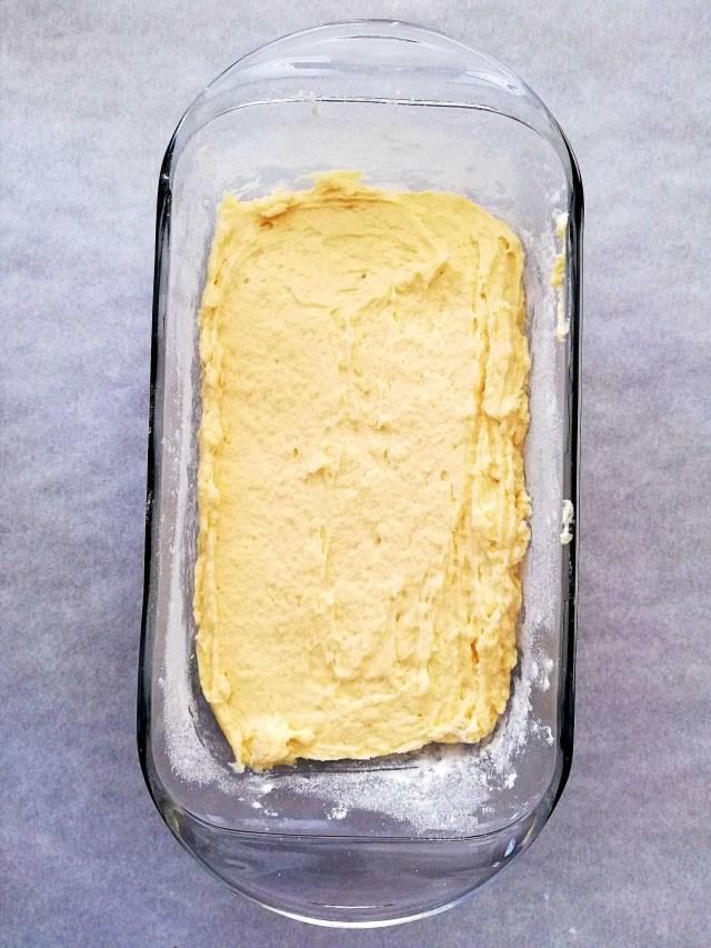 pound cake in baking dish
