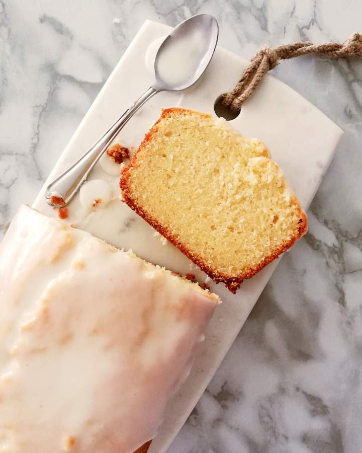 sour cream pound cake overhead image of slice 2