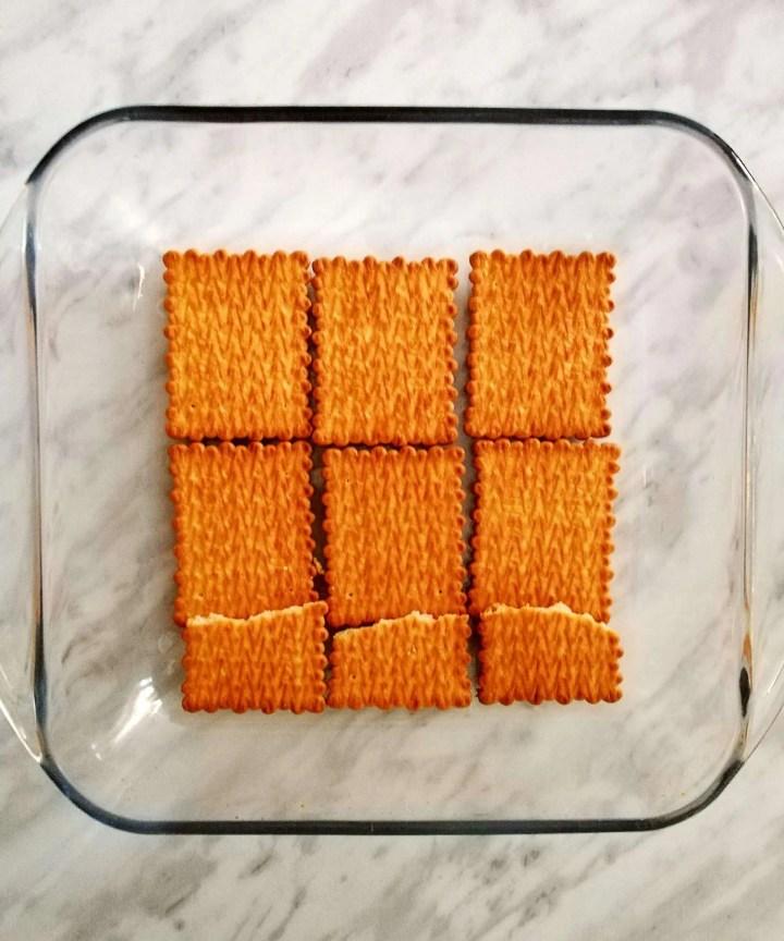 vanilla no bake biscuit cake first cookie layer