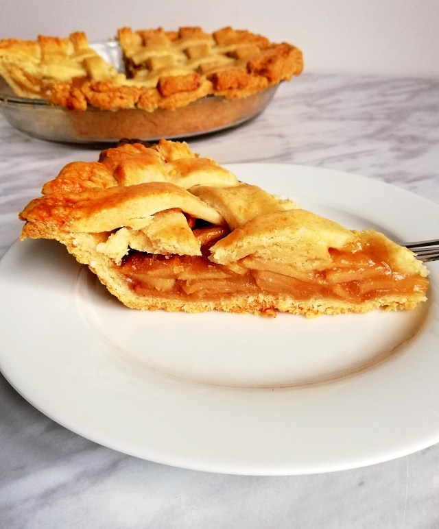 apple pie slice on plate 3_4 view
