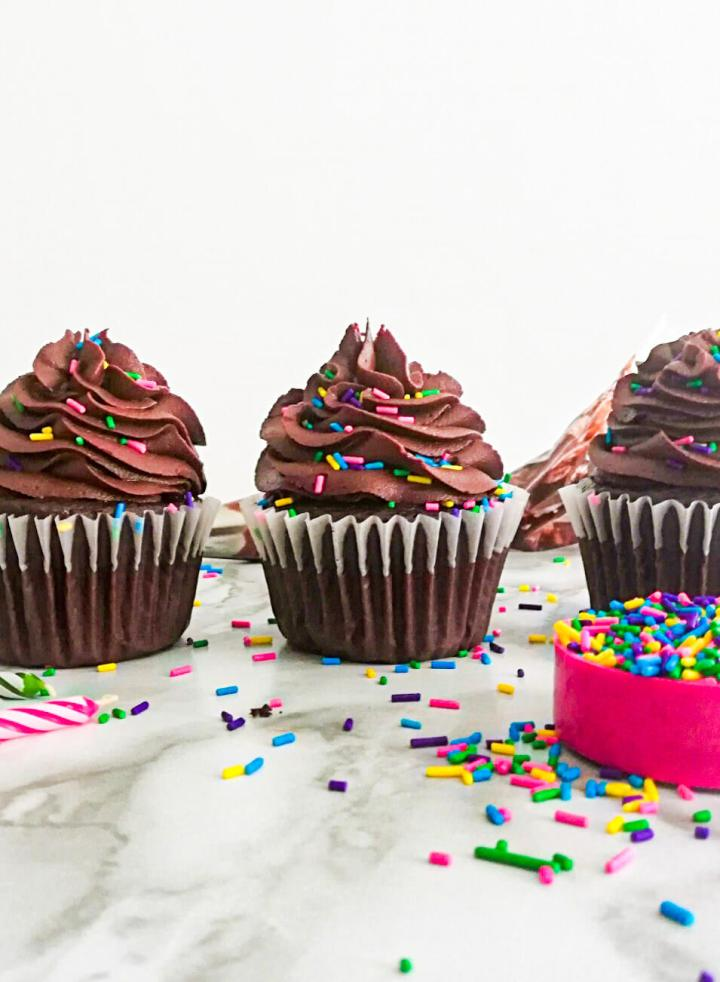 chocolate cupcakes frosted and topped with sprinkles on counter top head on image