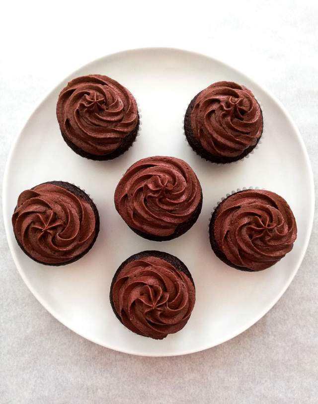 chocolate cupcakes frosted overhead