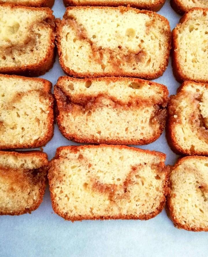 cinnamon swirl quick bread overhead close up