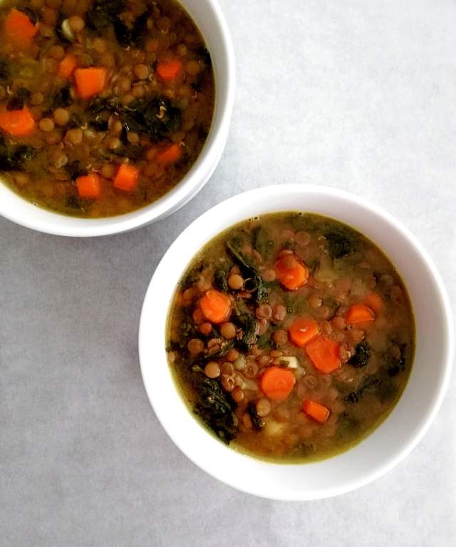 spinach lentil soup overhead plain