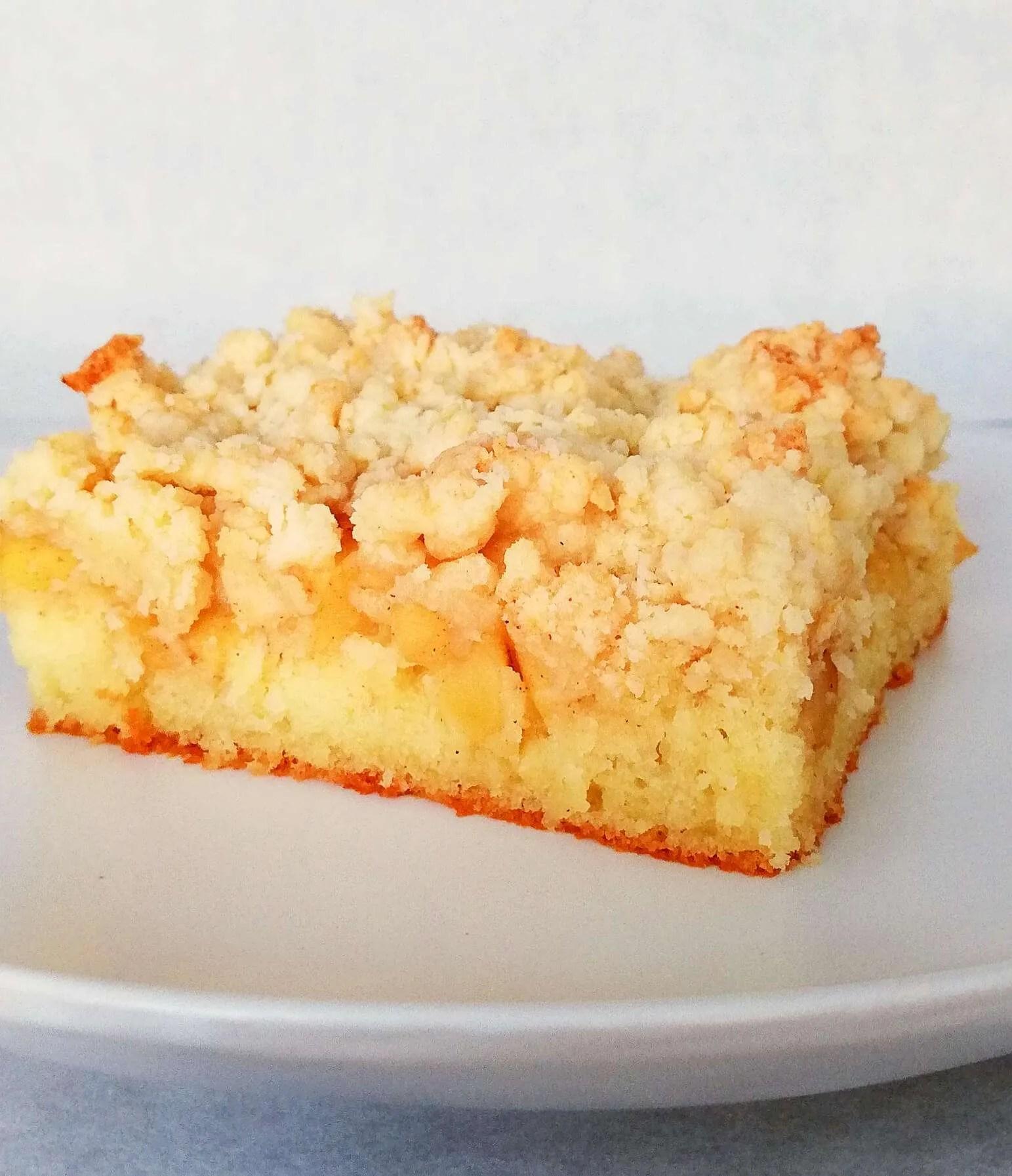 apple crumb cake slice side view