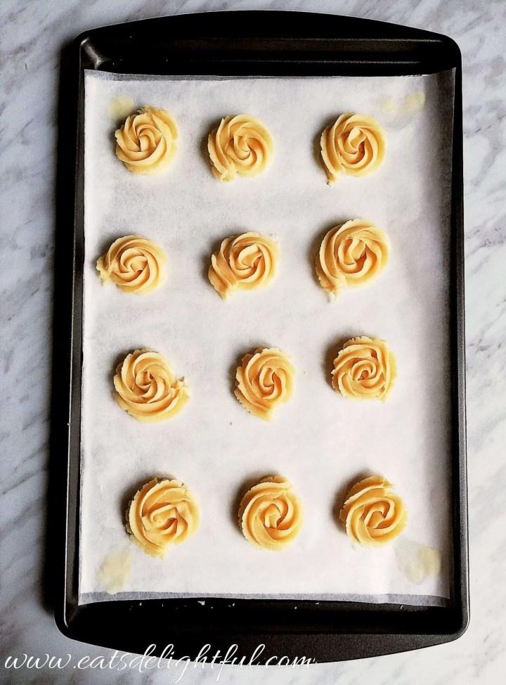 danish butter cookies on baking sheet