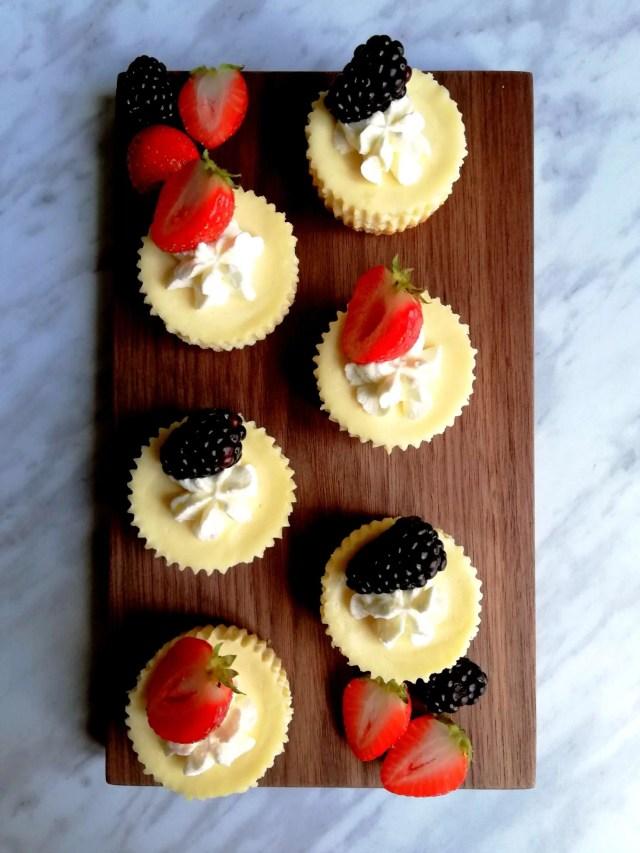 mini cheesecakes decorated overhead