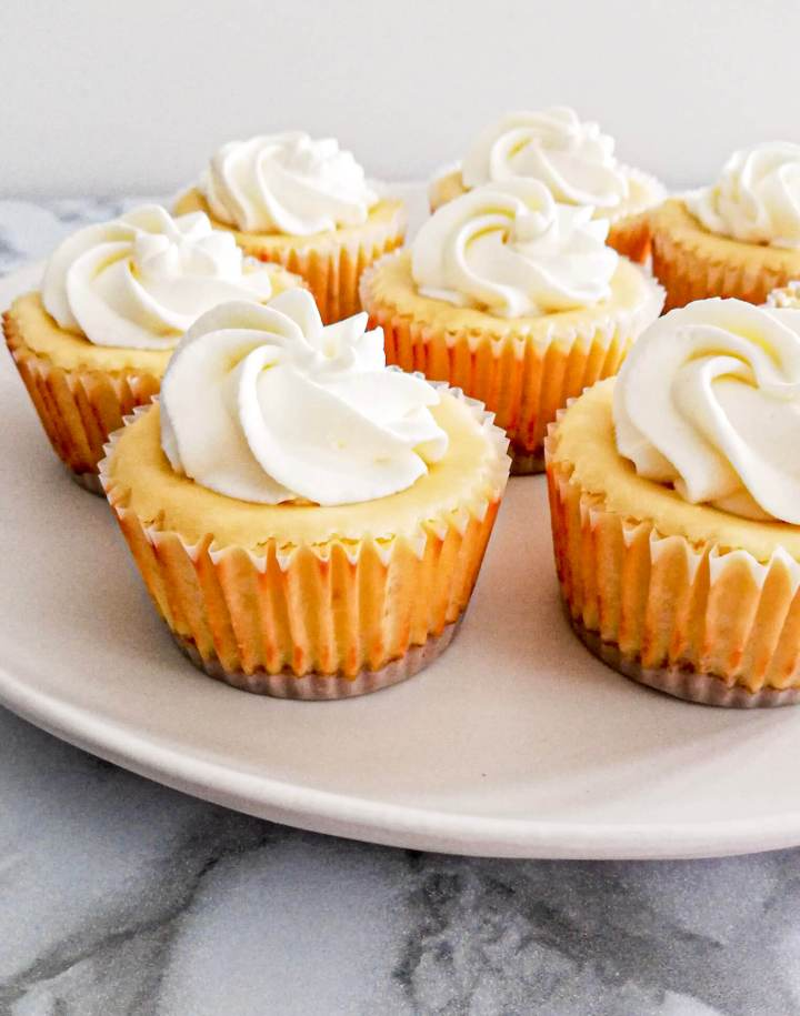 mini cheesecakes topped with whipped cream