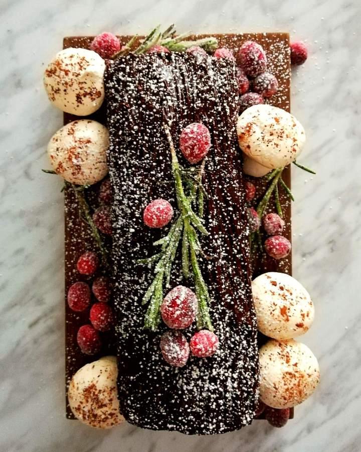 chocolate buche de noel overhead decorated with powdered sugar