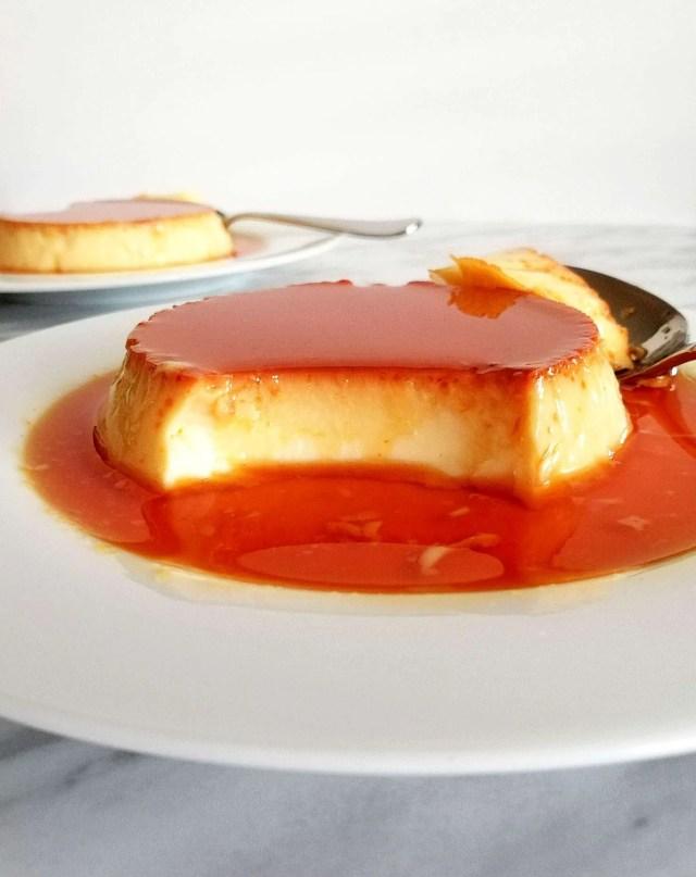 creme caramel flan cut inside