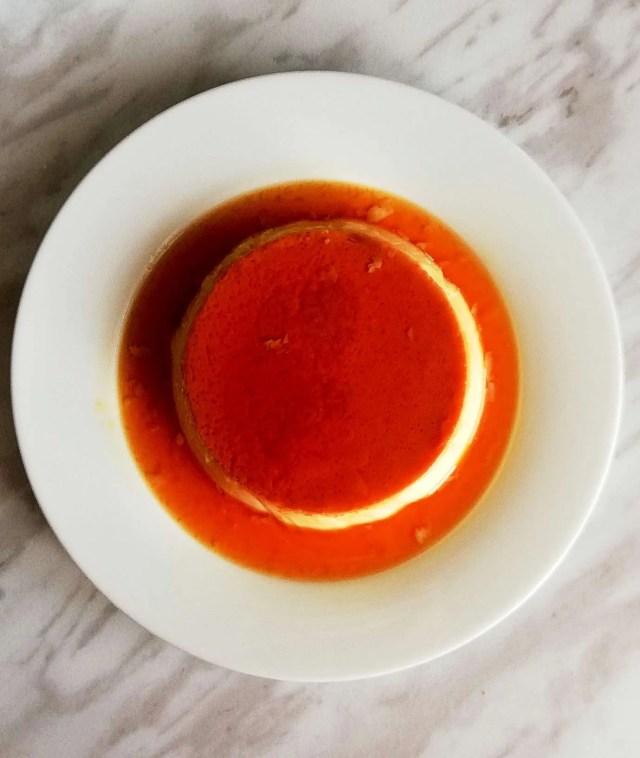 creme caramel flan overhead close up