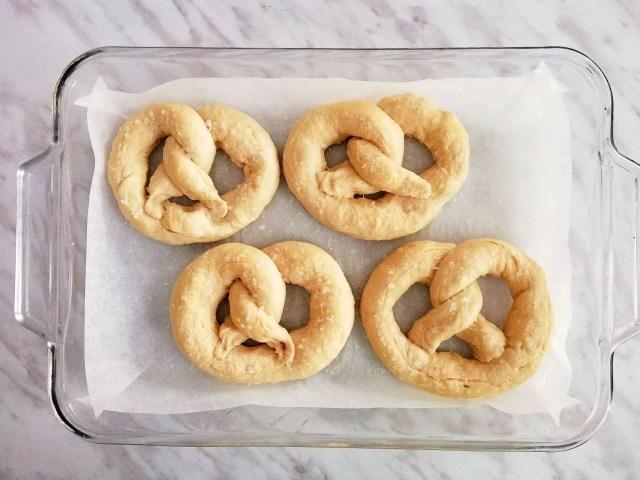 soft pretzels ready to bake