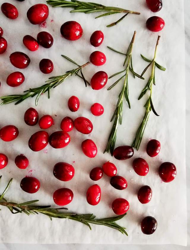 sugared cranberries and rosemary syrup dried
